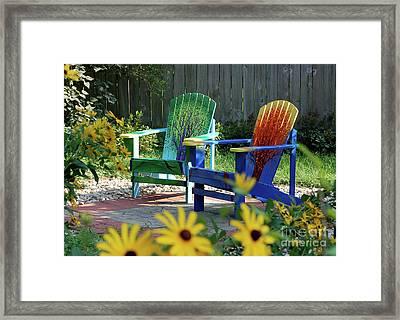 Garden Chairs Framed Print by First Star Art
