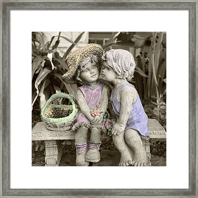 Framed Print featuring the digital art Garden Children by Ellen O'Reilly