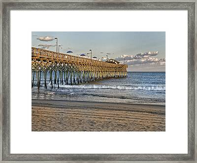 Garden City Pier At Sunset Framed Print by Sandra Anderson