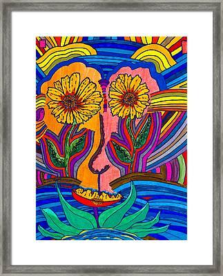 Garden Face - Lotus Pond - Daisy Eyes Framed Print