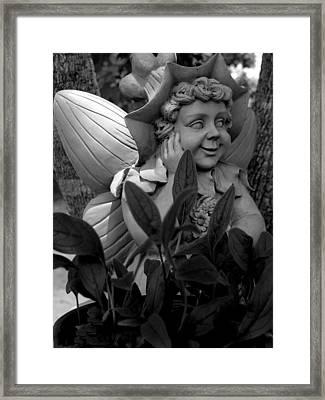 Garden Fairy Statue Framed Print