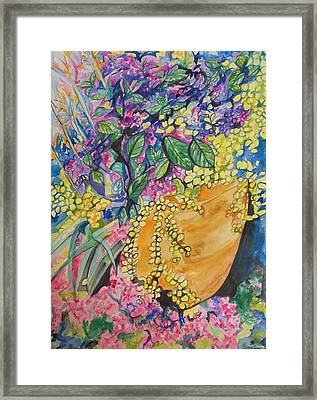 Garden Flowers In A Pot Framed Print