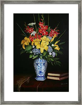 Framed Print featuring the painting Garden Flowers  by Sandra Nardone