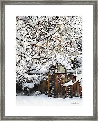 Garden Gate In Winter Framed Print