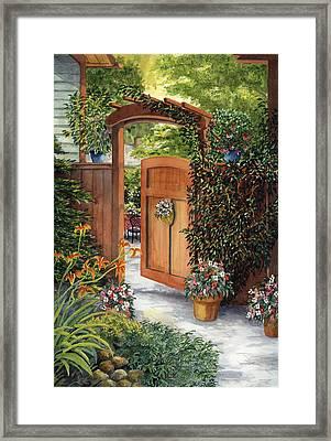 Garden Gate Framed Print by Karen Wright