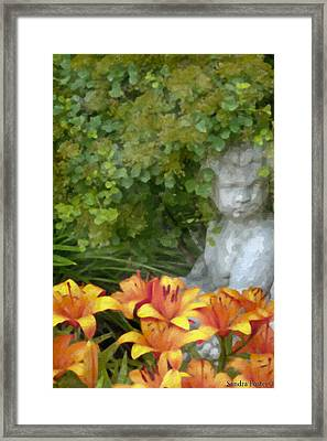 Garden Girl And Orange Lilies Digital Watercolor Framed Print by Sandra Foster