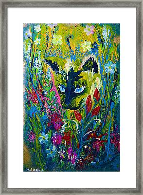 Garden Hunter Cat Painting Framed Print