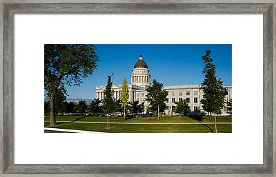 Garden In Front Of Utah State Capitol Framed Print by Panoramic Images