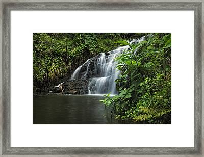 Framed Print featuring the photograph Garden Isle Waterfall by Hawaii  Fine Art Photography