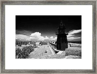Garden Key Lighthouse Terreplein And Interior Soldiers Barracks On Fort Jefferson Dry Tortugas Natio Framed Print by Joe Fox