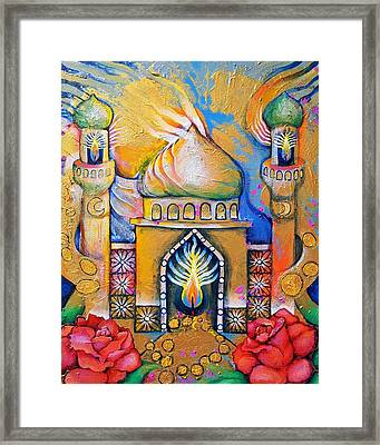 Garden Lantern In A Place Where The Mind Travels Framed Print