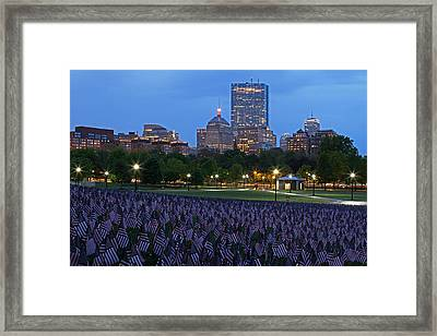 Garden Of American Flags In The Boston Common Framed Print by Juergen Roth