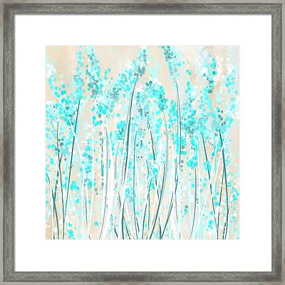 Garden Of Blues- Teal And Cream Art Framed Print by Lourry Legarde