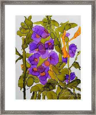Garden Of Hollyhocks Framed Print