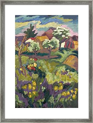 Garden Of My Childhood, 2005 Oil On Board Framed Print by Marta Martonfi-Benke