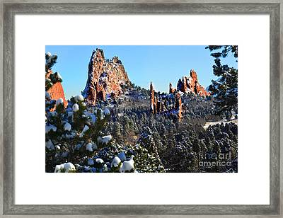 Framed Print featuring the photograph Garden Of The Gods After Snow Colorado Landscape by Jon Holiday