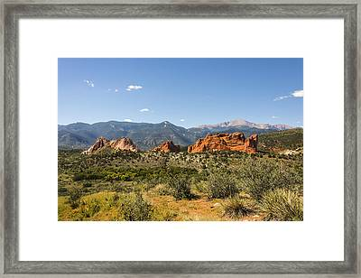 Garden Of The Gods And Pikes Peak - Colorado Springs Framed Print by Brian Harig