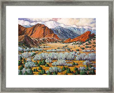 Garden Of The Gods Co Framed Print by Vickie Fears