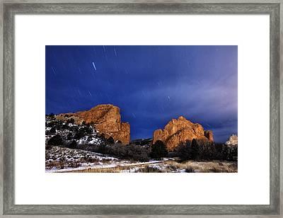 Garden Of The Gods Star Storm Framed Print by Darren  White