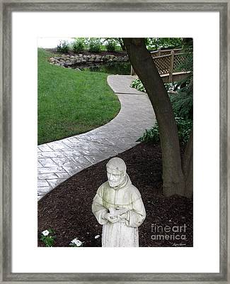 Garden Path St. Francis Framed Print by Lyric Lucas