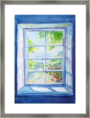 Garden Path Through A Summer Window  Framed Print