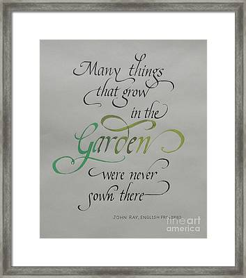 Garden Quote Framed Print by Gloria Cooper