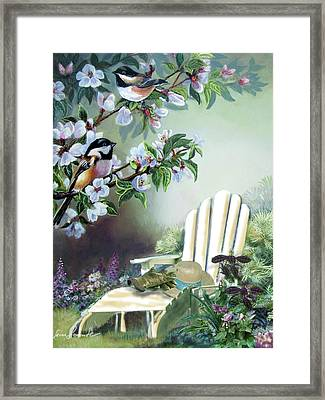 Chickadees In Blossom Tree Framed Print