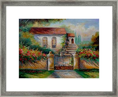 Garden Scene With Villa And Gate Framed Print
