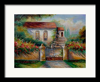 Architectural Garden Scene Framed Prints