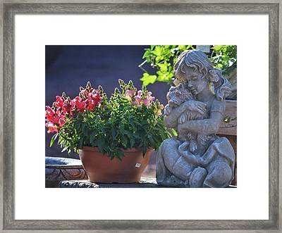 Garden Statue Framed Print by Penni D'Aulerio