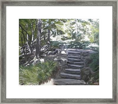 Garden Steps Framed Print by Gwendolyn Hope-Battley