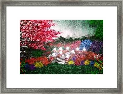 Framed Print featuring the painting Garden Terrace by Michael Rucker
