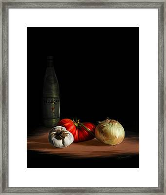 Garden Vegetables With Pellegrino Framed Print