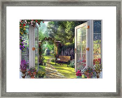 Framed Print featuring the drawing Garden View by Dominic Davison