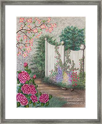 Garden Walkway Framed Print by Lena Auxier