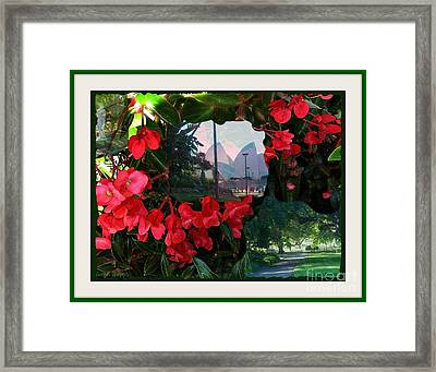Framed Print featuring the photograph Garden Whispers In A Green Frame by Leanne Seymour