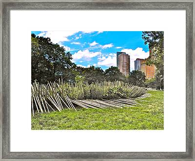 Garden With Bamboo Garden Fence In Battery Park In New York City-ny Framed Print