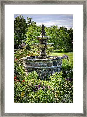 Garden With Fountain Framed Print by Elena Elisseeva