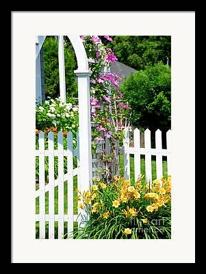 White Picket Fence Framed Prints