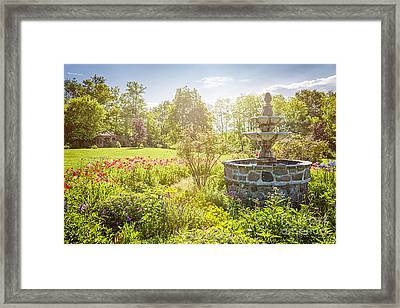 Garden With Stone Fountain Framed Print by Elena Elisseeva