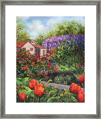 Garden With Tulips And Wisteria Framed Print by Susan Savad