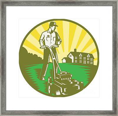 Gardener Mowing Lawn Mower Retro Framed Print by Aloysius Patrimonio