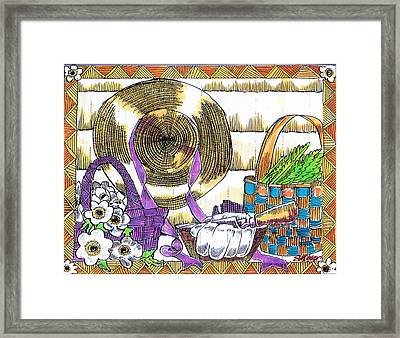 Framed Print featuring the drawing Gardener's Basket by Seth Weaver