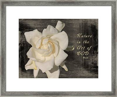 Gardenia And Quote Framed Print