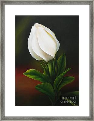 Framed Print featuring the painting Gardenia by Paula L