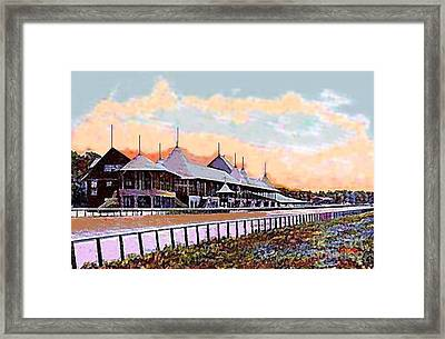 Gardens And Grandstand At Saratoga Racetrack In 1908 Framed Print