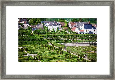 Gardens And Village, Chateau De Framed Print