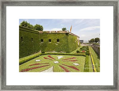gardens around Montjuic Castle in Barcelona Framed Print