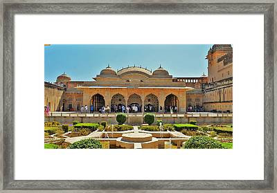 Gardens At The Hall Of Mirrors - Amber Fort - Jaipur India Framed Print