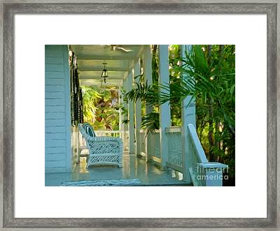 Gardens Porch In Key West Framed Print by David  Van Hulst